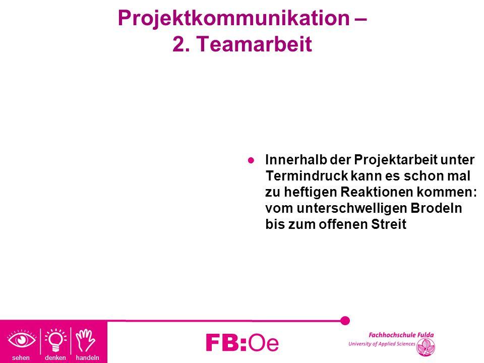 sehen denken handeln FB:Oe Projektkommunikation – 2. Teamarbeit Innerhalb der Projektarbeit unter Termindruck kann es schon mal zu heftigen Reaktionen
