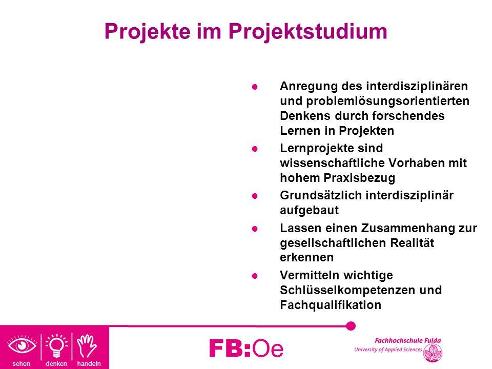 sehen denken handeln FB:Oe Projekte im Projektstudium Anregung des interdisziplinären und problemlösungsorientierten Denkens durch forschendes Lernen