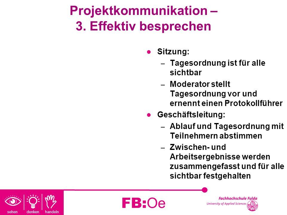 sehen denken handeln FB:Oe Projektkommunikation – 3. Effektiv besprechen Sitzung: – Tagesordnung ist für alle sichtbar – Moderator stellt Tagesordnung