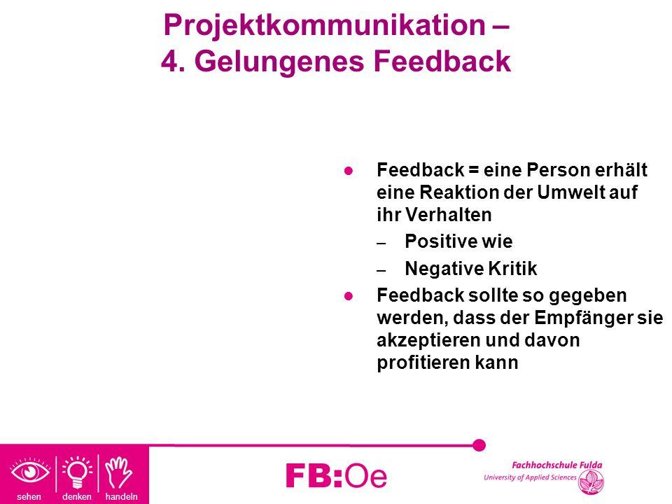 sehen denken handeln FB:Oe Projektkommunikation – 4. Gelungenes Feedback Feedback = eine Person erhält eine Reaktion der Umwelt auf ihr Verhalten – Po