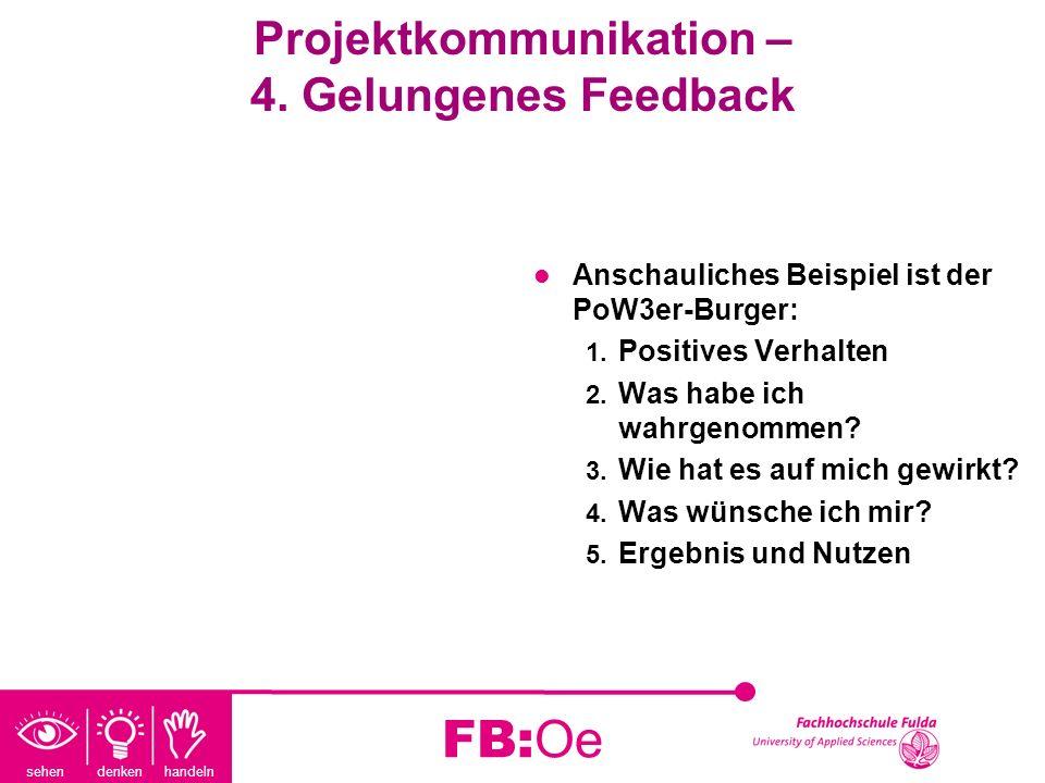 sehen denken handeln FB:Oe Projektkommunikation – 4. Gelungenes Feedback Anschauliches Beispiel ist der PoW3er-Burger: 1. Positives Verhalten 2. Was h