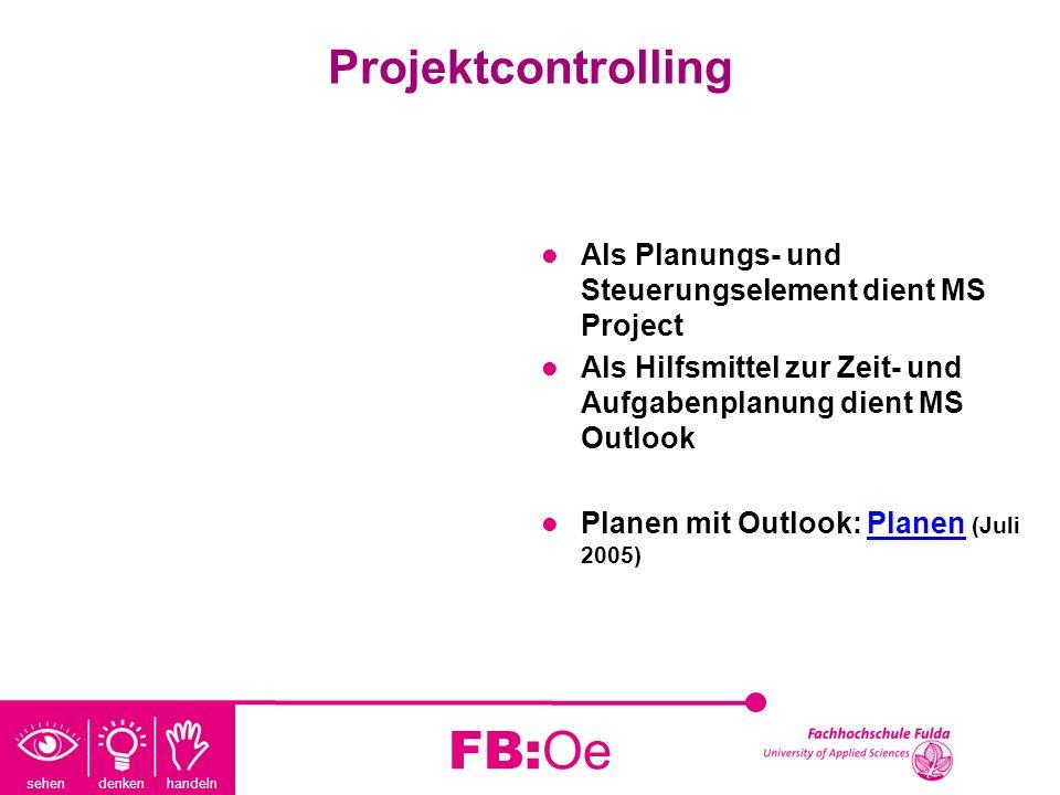 sehen denken handeln FB:Oe Projektcontrolling Als Planungs- und Steuerungselement dient MS Project Als Hilfsmittel zur Zeit- und Aufgabenplanung dient