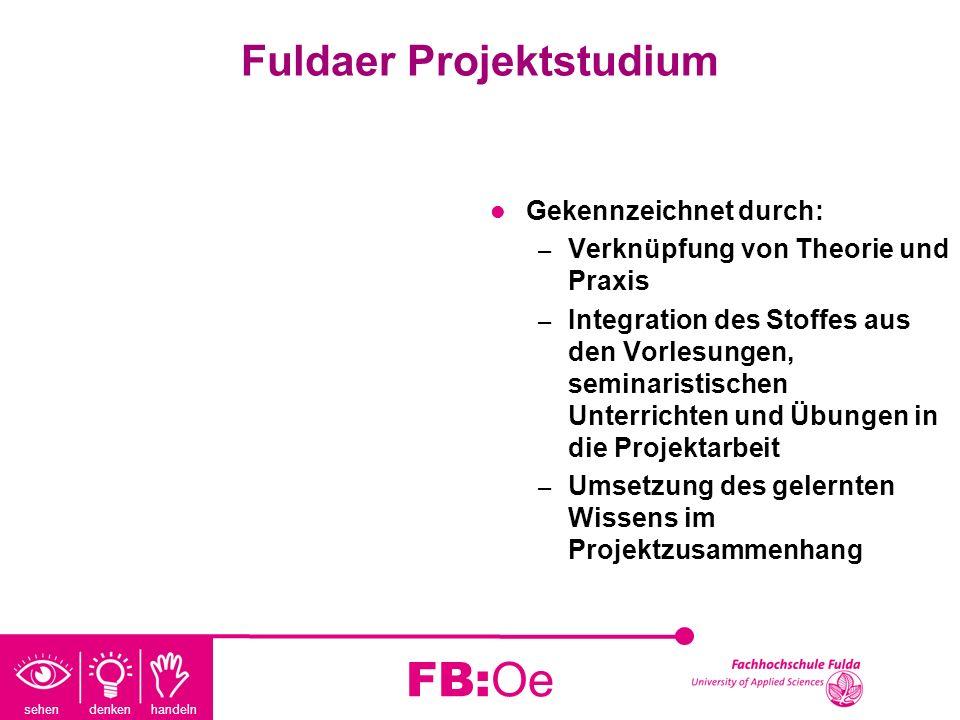 sehen denken handeln FB:Oe Fuldaer Projektstudium Gekennzeichnet durch: – Verknüpfung von Theorie und Praxis – Integration des Stoffes aus den Vorlesu