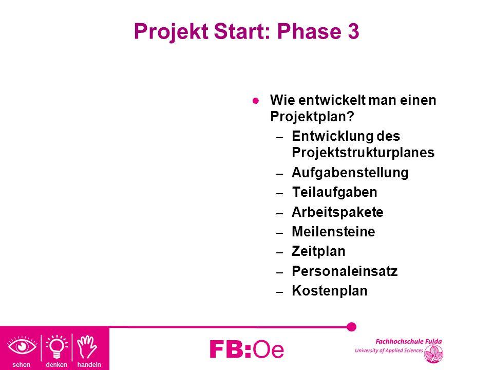 sehen denken handeln FB:Oe Projekt Start: Phase 3 Wie entwickelt man einen Projektplan? – Entwicklung des Projektstrukturplanes – Aufgabenstellung – T