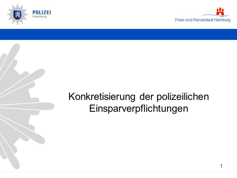 Freie und Hansestadt Hamburg 2 Einsparverpflichtung von 4,76 Millionen Euro / 151 Polizeivollzugsstellen zur Haushaltskonsolidierung auf Grund der Erhöhung der Wochenarbeitszeit auf 40 Stunden in 2003 (Senatsbeschluss aus 2002) sukzessive Umsetzung bis 2009 (gestreckte Zeitschiene gemäß Senatsbeschluss) Prämissen Senator Udo Nagel keine Einschränkungen der Sicherheit für den Bürger Gewährleistung des Servicestandards für den Bürger Ausgangssituation