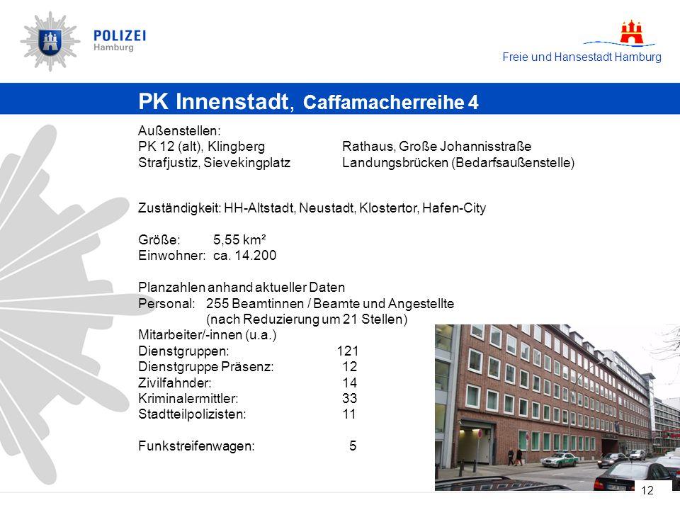 Freie und Hansestadt Hamburg 12 PK Innenstadt, Caffamacherreihe 4 Außenstellen: PK 12 (alt), KlingbergRathaus, Große Johannisstraße Strafjustiz, SievekingplatzLandungsbrücken (Bedarfsaußenstelle) Zuständigkeit: HH-Altstadt, Neustadt, Klostertor, Hafen-City Größe: 5,55 km² Einwohner: ca.