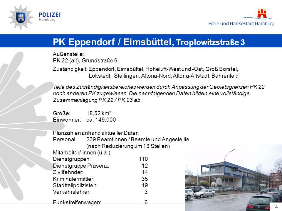 Freie und Hansestadt Hamburg 14 PK Eppendorf / Eimsbüttel, Troplowitzstraße 3 Außenstelle: PK 22 (alt), Grundstraße 6 Zuständigkeit: Eppendorf, Eimsbüttel, Hoheluft-West und -Ost, Groß Borstel, Lokstedt, Stellingen, Altona-Nord, Altona-Altstadt, Bahrenfeld Teile des Zuständigkeitsbereiches werden durch Anpassung der Gebietsgrenzen PK 22 noch anderen PK zugewiesen.
