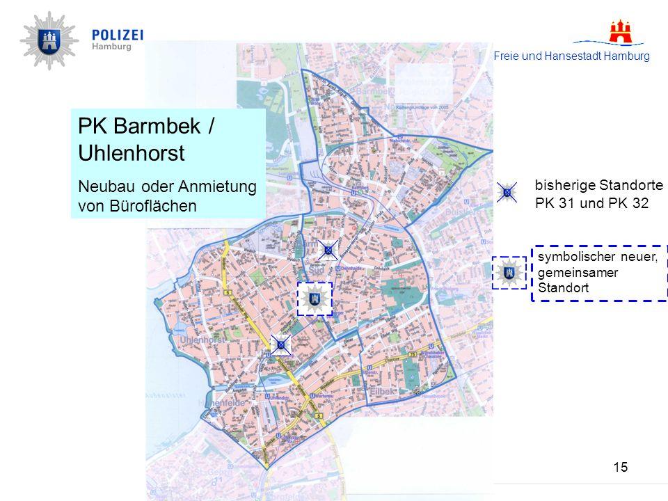 Freie und Hansestadt Hamburg 15 PK Barmbek/ Uhlenhorst Neubau oder Anmietung von Büroflächen PK Barmbek / Uhlenhorst Neubau oder Anmietung von Büroflächen bisherige Standorte PK 31 und PK 32 symbolischer neuer, gemeinsamer Standort
