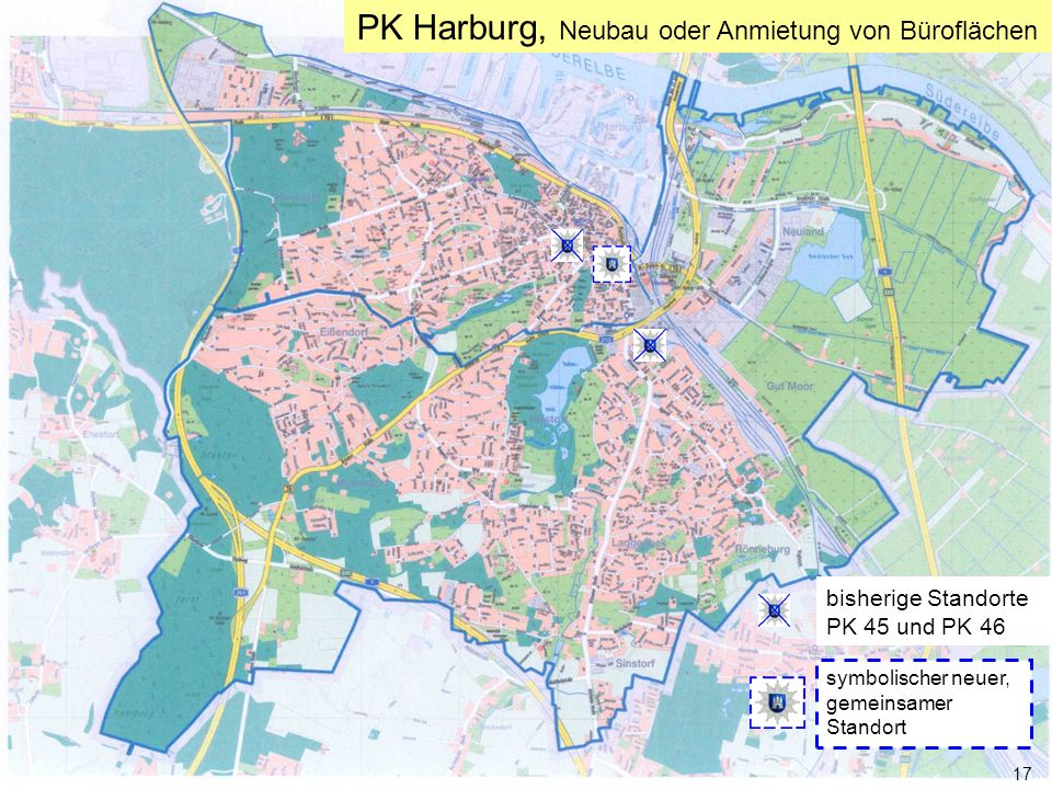 Freie und Hansestadt Hamburg 17 Senatsvorbesprechung am 17.01.2006 PK Harburg, Neubau oder Anmietung von Büroflächen 17 bisherige Standorte PK 45 und PK 46 symbolischer neuer, gemeinsamer Standort