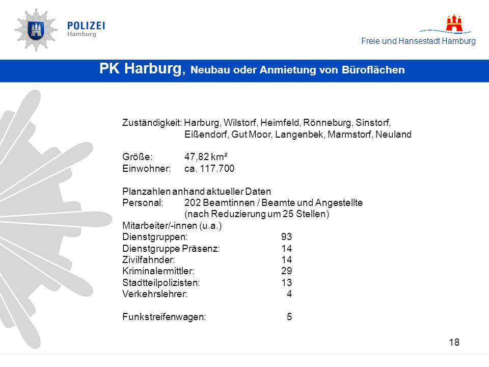 Freie und Hansestadt Hamburg 18 PK Harburg, Neubau oder Anmietung von Büroflächen Zuständigkeit: Harburg, Wilstorf, Heimfeld, Rönneburg, Sinstorf, Eiß