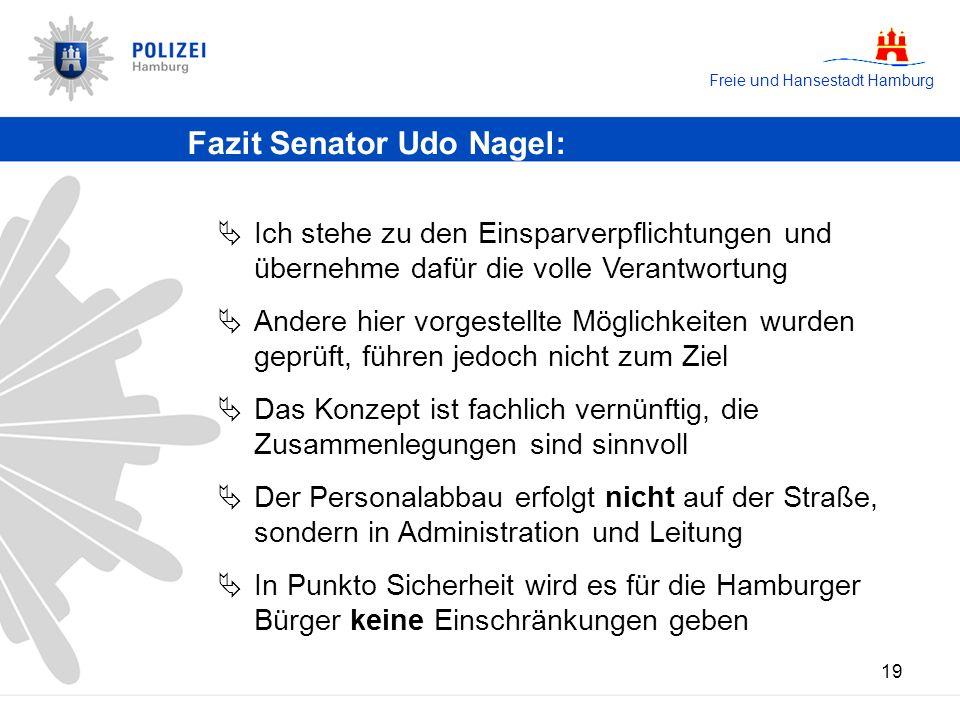 Freie und Hansestadt Hamburg 19 Fazit Senator Udo Nagel: Ich stehe zu den Einsparverpflichtungen und übernehme dafür die volle Verantwortung Andere hi