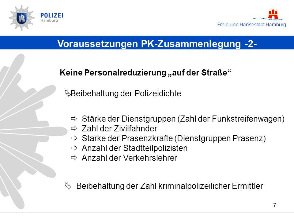 Freie und Hansestadt Hamburg 7 Voraussetzungen PK-Zusammenlegung -2- Stärke der Dienstgruppen (Zahl der Funkstreifenwagen) Zahl der Zivilfahnder Stärk