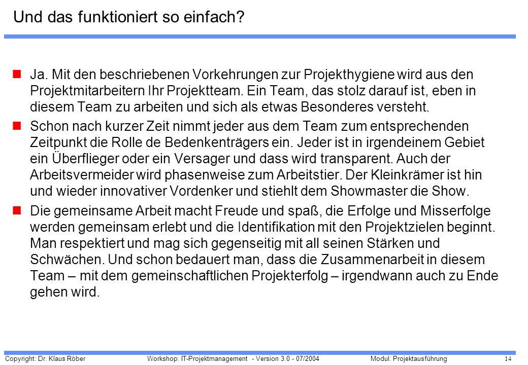 Copyright: Dr. Klaus Röber 14 Workshop: IT-Projektmanagement - Version 3.0 - 07/2004Modul: Projektausführung Und das funktioniert so einfach? Ja. Mit