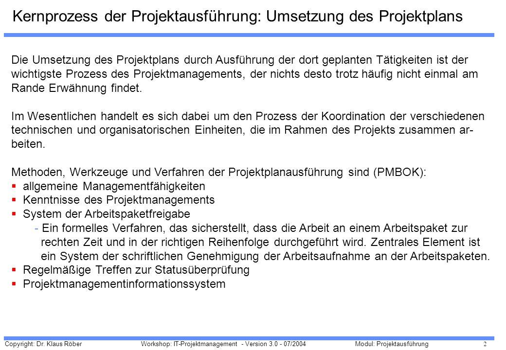 Copyright: Dr. Klaus Röber 2 Workshop: IT-Projektmanagement - Version 3.0 - 07/2004Modul: Projektausführung Kernprozess der Projektausführung: Umsetzu