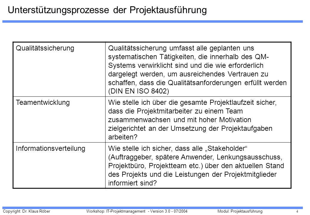 Copyright: Dr. Klaus Röber 4 Workshop: IT-Projektmanagement - Version 3.0 - 07/2004Modul: Projektausführung Unterstützungsprozesse der Projektausführu