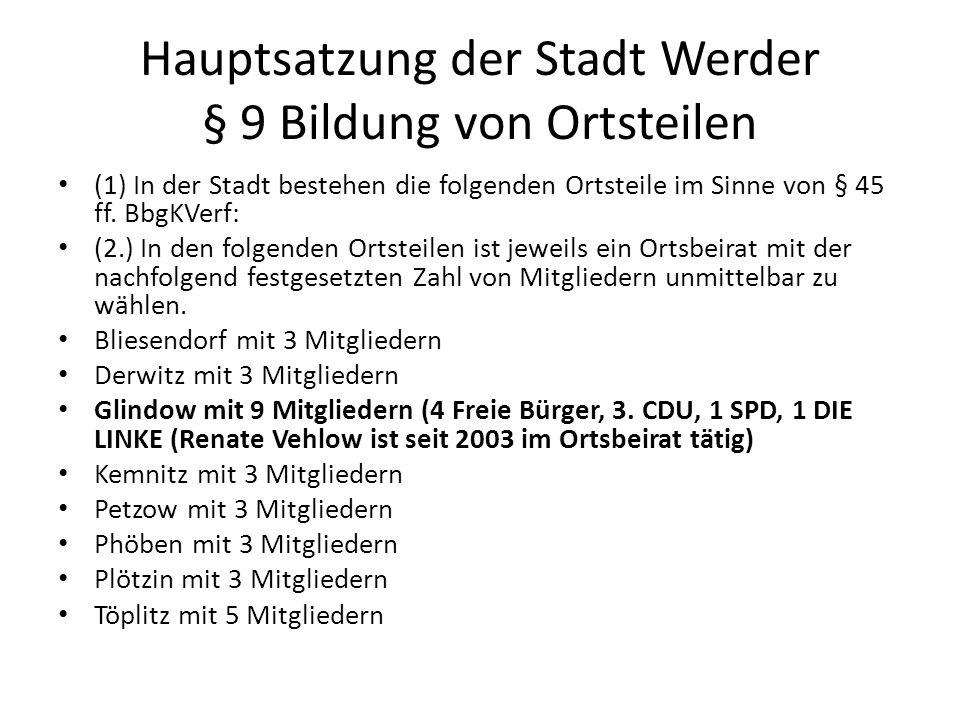 Hauptsatzung der Stadt Werder § 9 Bildung von Ortsteilen (1) In der Stadt bestehen die folgenden Ortsteile im Sinne von § 45 ff.