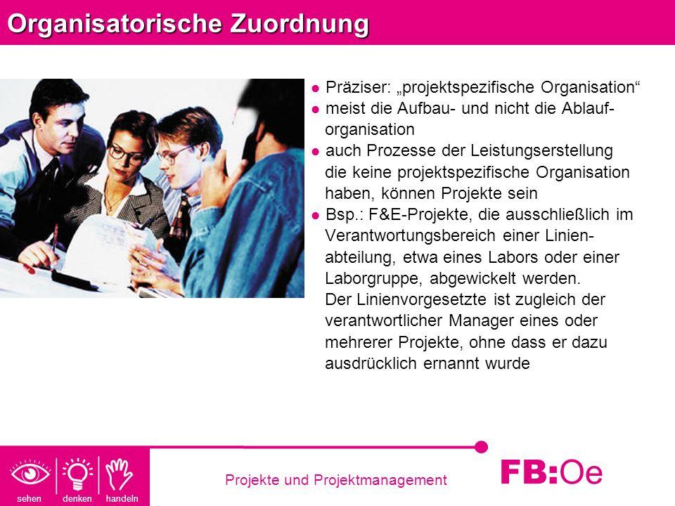 sehen denken handeln FB: Oe Projekte und Projektmanagement Organisatorische Zuordnung Präziser: projektspezifische Organisation meist die Aufbau- und