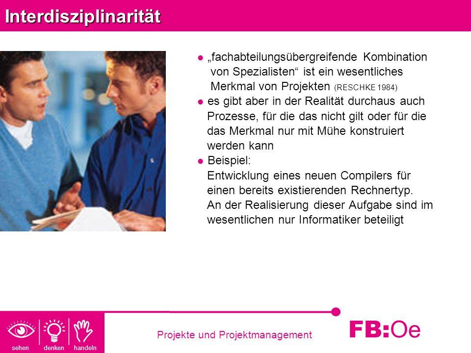 sehen denken handeln FB: Oe Projekte und ProjektmanagementInterdisziplinarität fachabteilungsübergreifende Kombination von Spezialisten ist ein wesent