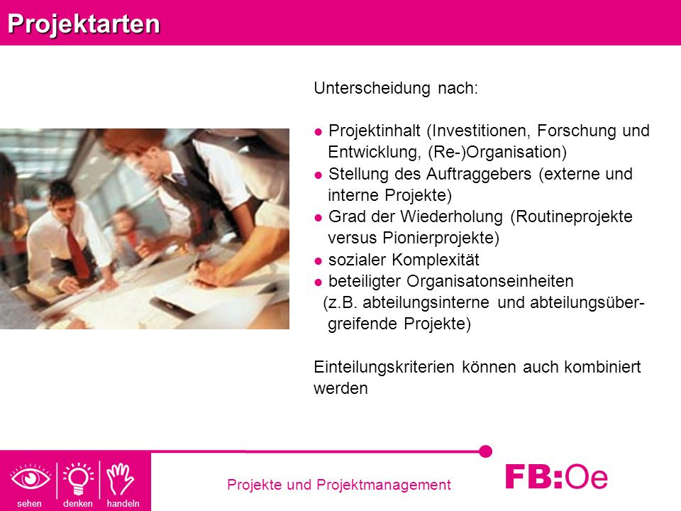 sehen denken handeln FB: Oe Projekte und ProjektmanagementProjektarten Unterscheidung nach: Projektinhalt (Investitionen, Forschung und Entwicklung, (