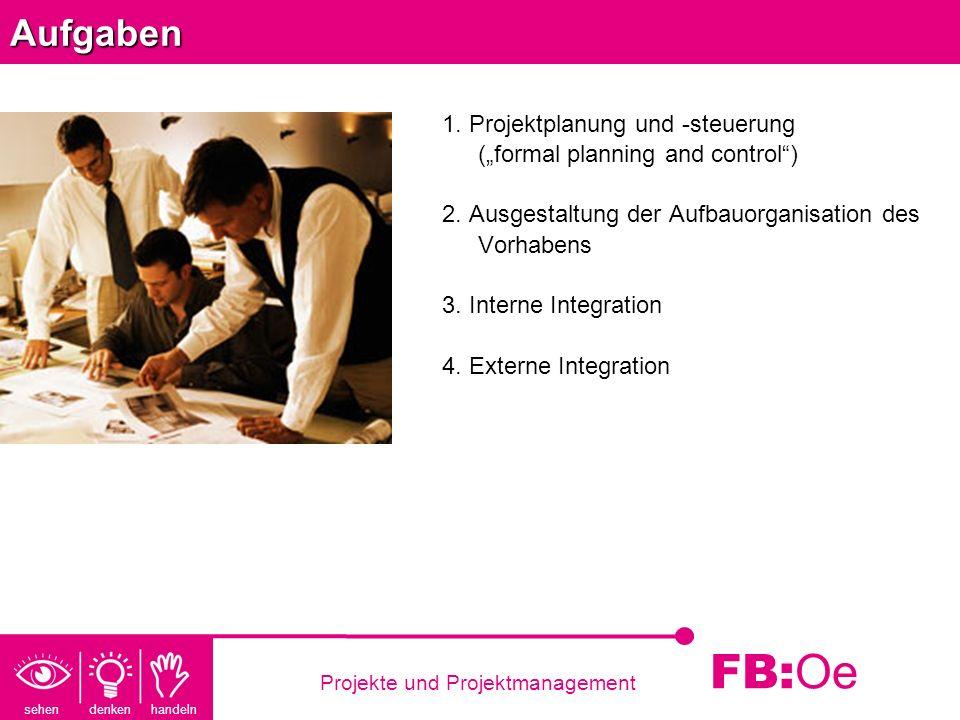 sehen denken handeln FB: Oe Projekte und ProjektmanagementAufgaben 1. Projektplanung und -steuerung (formal planning and control) 2. Ausgestaltung der