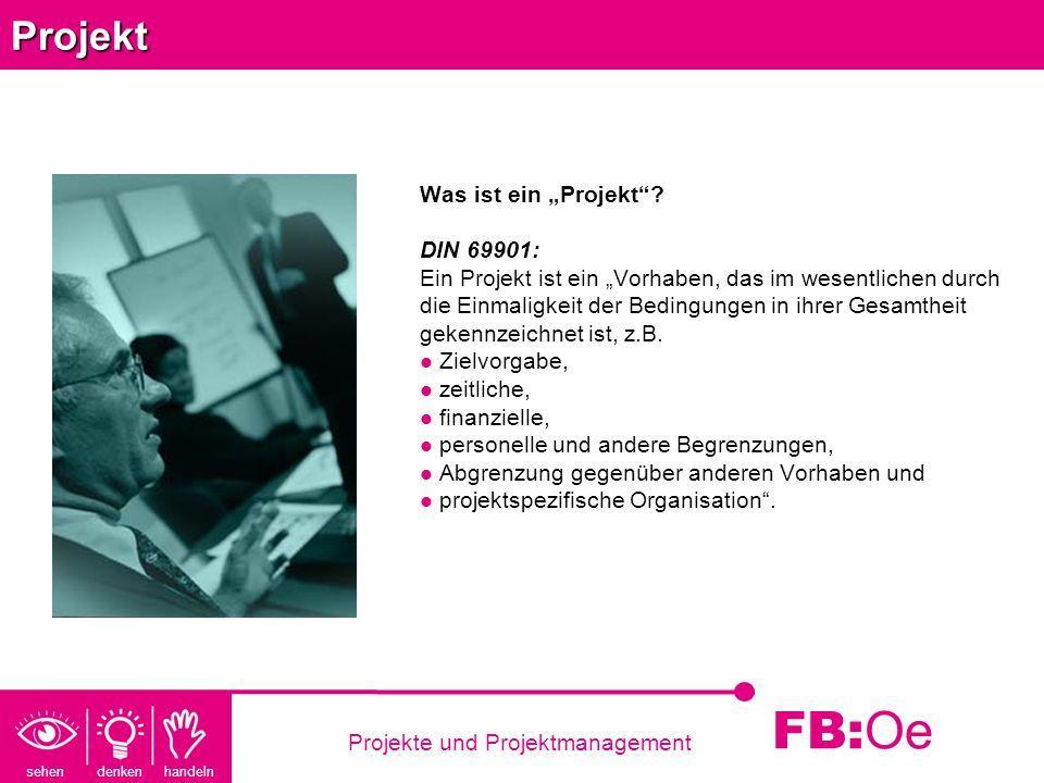 sehen denken handeln FB: Oe Projekte und ProjektmanagementProjekt Was ist ein Projekt? DIN 69901: Ein Projekt ist ein Vorhaben, das im wesentlichen du