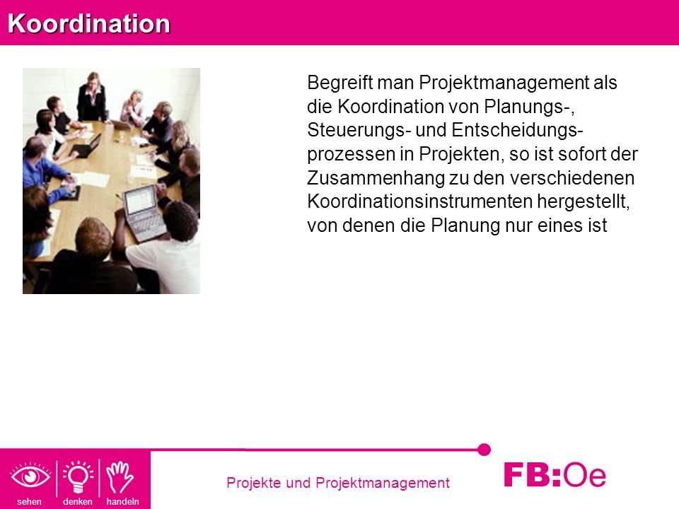 sehen denken handeln FB: Oe Projekte und ProjektmanagementKoordination Begreift man Projektmanagement als die Koordination von Planungs-, Steuerungs-