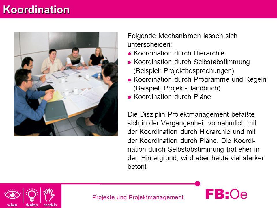 sehen denken handeln FB: Oe Projekte und ProjektmanagementKoordination Folgende Mechanismen lassen sich unterscheiden: Koordination durch Hierarchie K