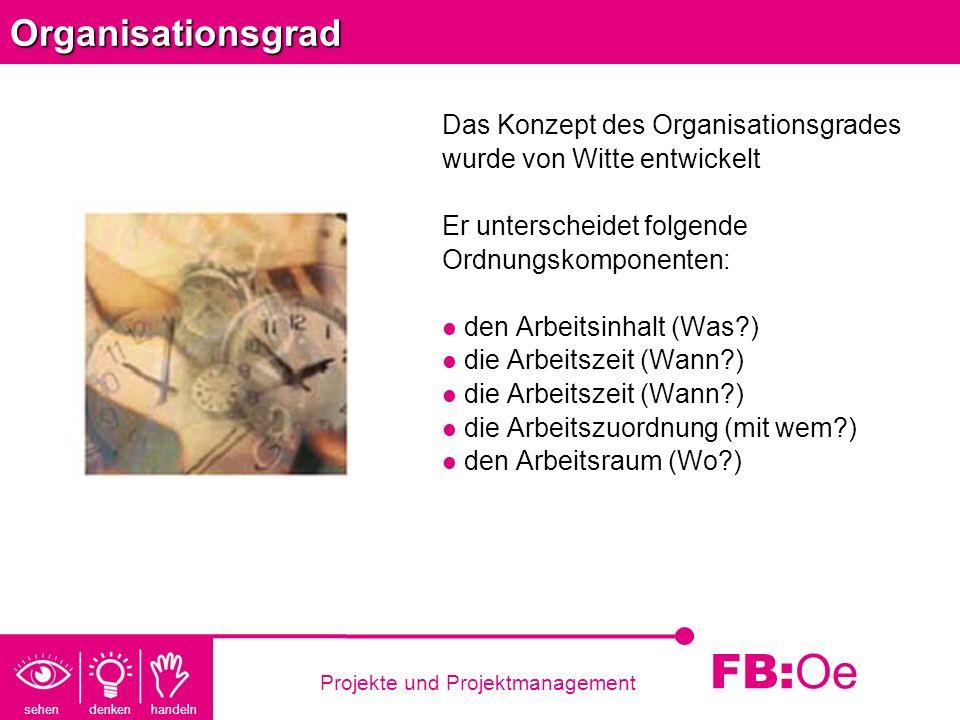 sehen denken handeln FB: Oe Projekte und Projektmanagement Das Konzept des Organisationsgrades wurde von Witte entwickelt Er unterscheidet folgende Or