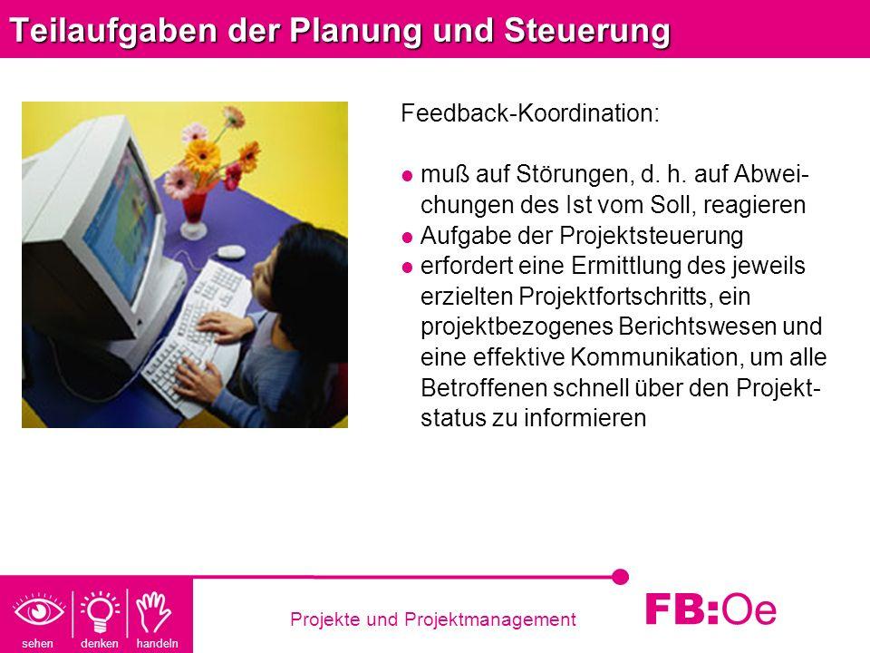 sehen denken handeln FB: Oe Projekte und Projektmanagement Teilaufgaben der Planung und Steuerung Feedback-Koordination: muß auf Störungen, d. h. auf