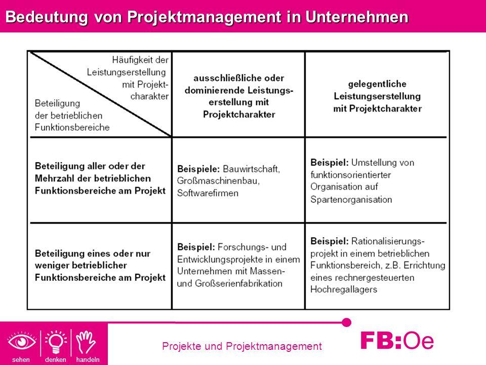 sehen denken handeln FB: Oe Projekte und Projektmanagement Bedeutung von Projektmanagement in Unternehmen