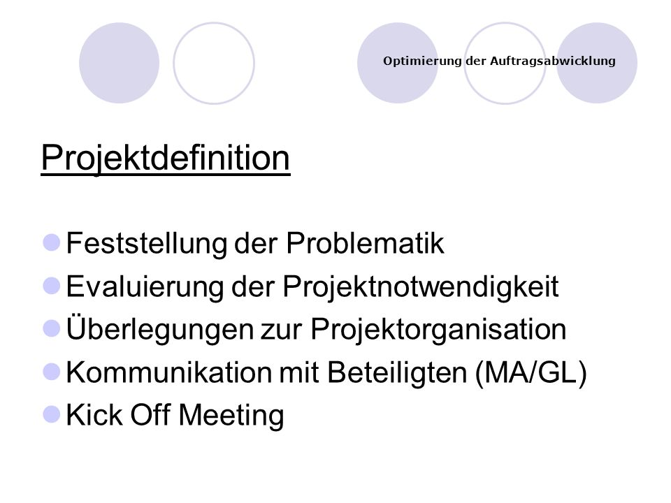 Projektdefinition Feststellung der Problematik Evaluierung der Projektnotwendigkeit Überlegungen zur Projektorganisation Kommunikation mit Beteiligten