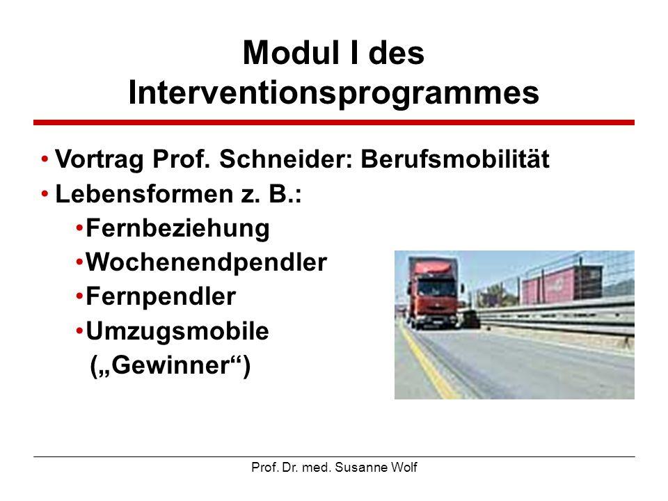 Prof. Dr. med. Susanne Wolf Modul I des Interventionsprogrammes Vortrag Prof. Schneider: Berufsmobilität Lebensformen z. B.: Fernbeziehung Wochenendpe