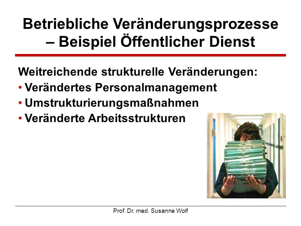 Prof. Dr. med. Susanne Wolf Betriebliche Veränderungsprozesse – Beispiel Öffentlicher Dienst Weitreichende strukturelle Veränderungen: Verändertes Per