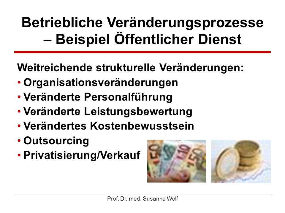 Prof. Dr. med. Susanne Wolf Betriebliche Veränderungsprozesse – Beispiel Öffentlicher Dienst Weitreichende strukturelle Veränderungen: Organisationsve