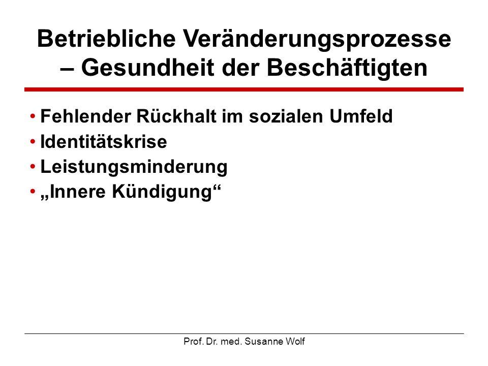 Prof. Dr. med. Susanne Wolf Betriebliche Veränderungsprozesse – Gesundheit der Beschäftigten Fehlender Rückhalt im sozialen Umfeld Identitätskrise Lei