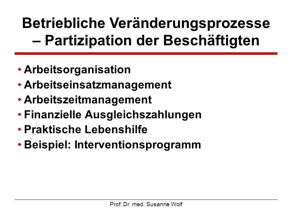 Prof. Dr. med. Susanne Wolf Betriebliche Veränderungsprozesse – Partizipation der Beschäftigten Arbeitsorganisation Arbeitseinsatzmanagement Arbeitsze