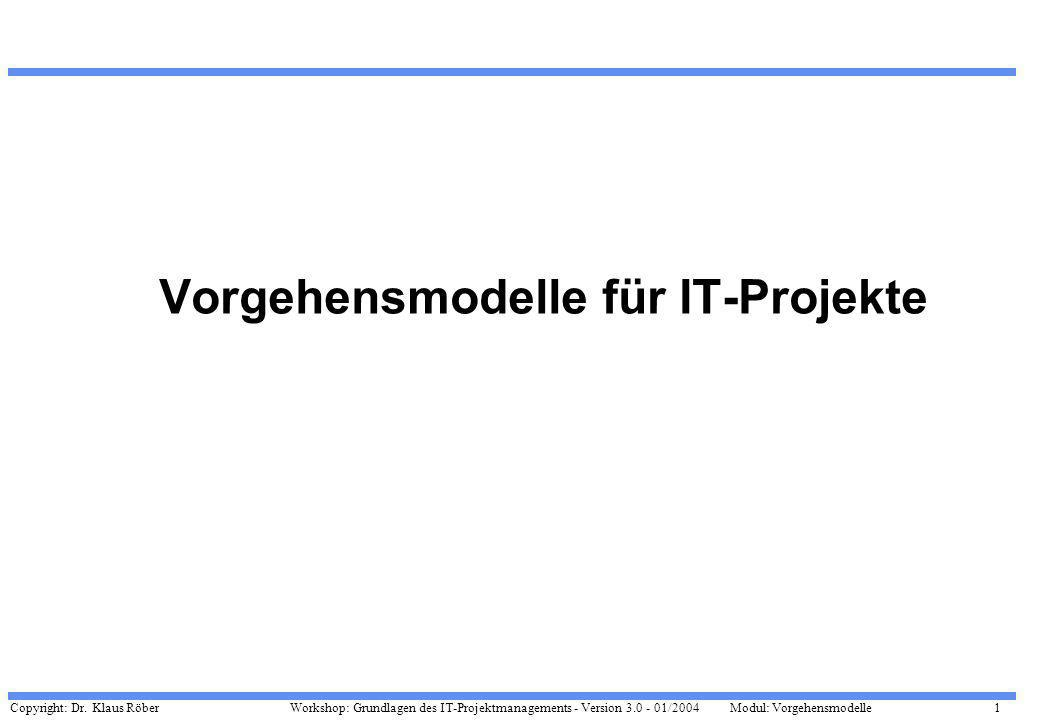 Copyright: Dr. Klaus Röber 1 Workshop: Grundlagen des IT-Projektmanagements - Version 3.0 - 01/2004Modul: Vorgehensmodelle Vorgehensmodelle für IT-Pro