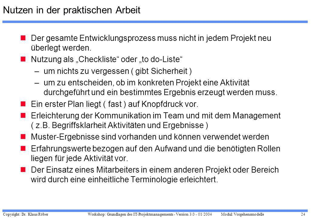 Copyright: Dr. Klaus Röber 24 Workshop: Grundlagen des IT-Projektmanagements - Version 3.0 - 01/2004Modul: Vorgehensmodelle Nutzen in der praktischen