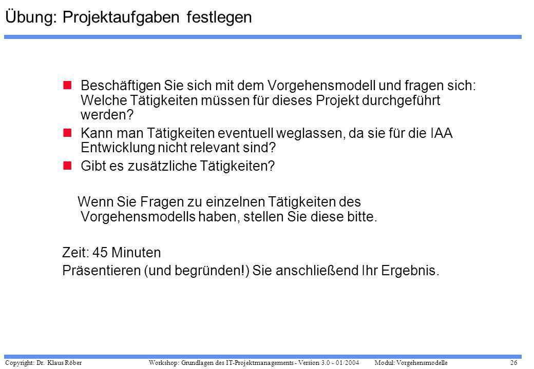 Copyright: Dr. Klaus Röber 26 Workshop: Grundlagen des IT-Projektmanagements - Version 3.0 - 01/2004Modul: Vorgehensmodelle Übung: Projektaufgaben fes