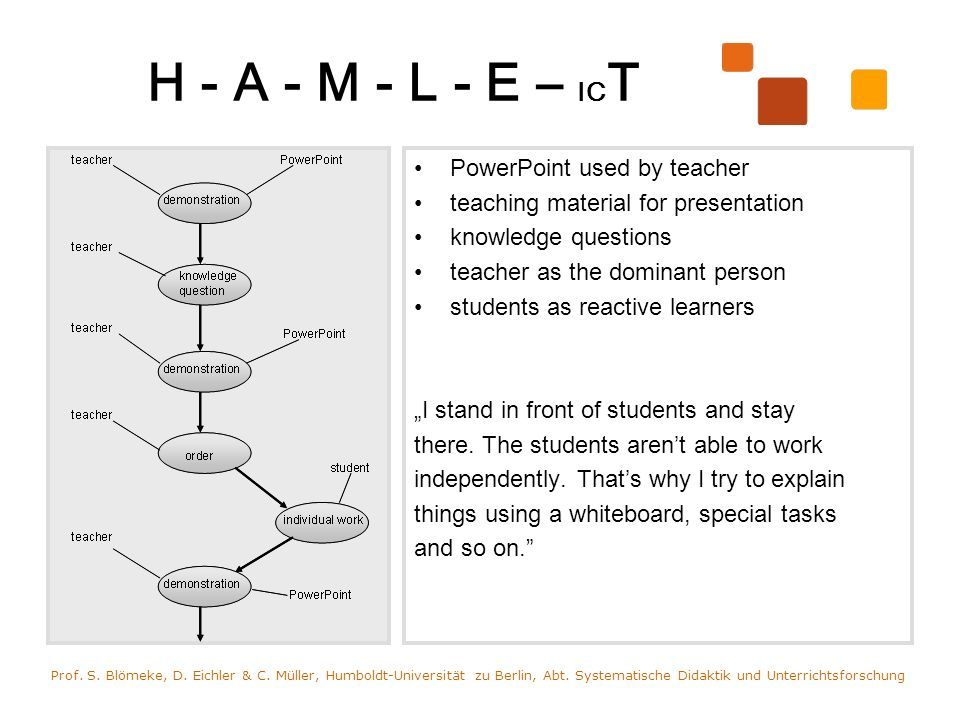 H - A - M - L - E - IC T 15 Computers used by students and teacher databank for getting information; work equipment for documentation a complex task teacher as a moderator, advisor students as independent learners I try to prepare learning situations for students.