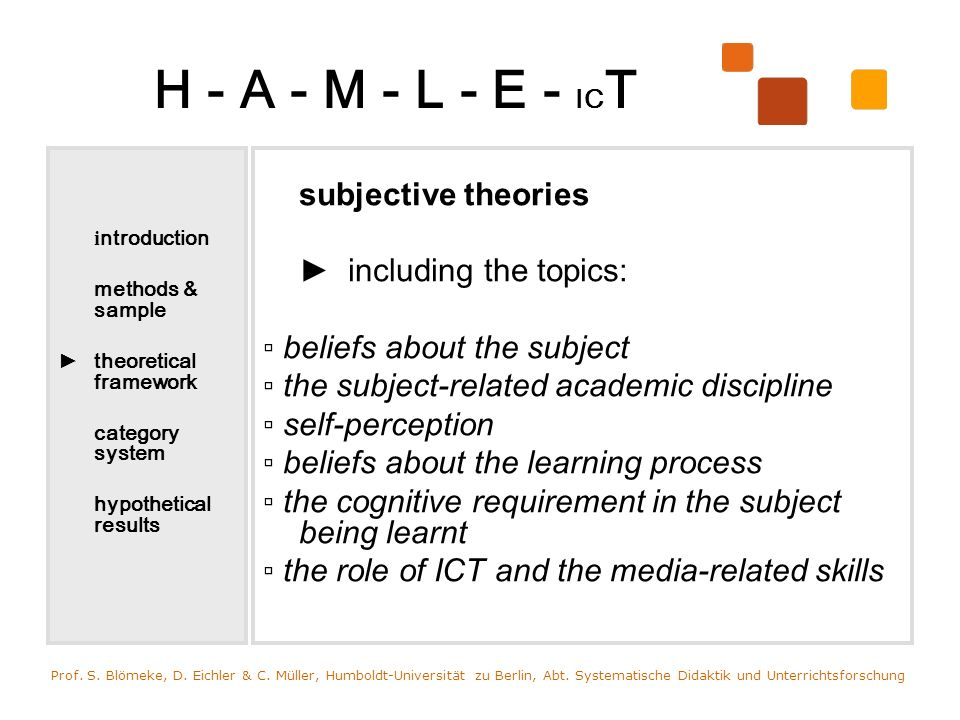 H - A - M - L - E - IC T scripts Schank & Abelson (1977): mental representation of a systematic acting sequence which is adapted to a specific situation and a specific objective Prof.