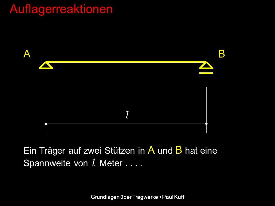 Grundlagen über Tragwerke Paul Kuff Auflagerreaktionen A B l Ein Träger auf zwei Stützen in A und B hat eine Spannweite von l Meter....