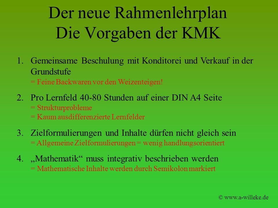 Der neue Rahmenlehrplan Die Vorgaben der KMK © www.a-willeke.de 1.Gemeinsame Beschulung mit Konditorei und Verkauf in der Grundstufe = Feine Backwaren
