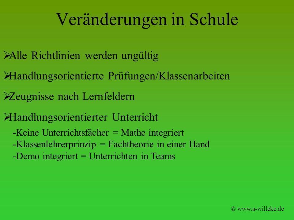 Veränderungen in Schule © www.a-willeke.de Alle Richtlinien werden ungültig Handlungsorientierte Prüfungen/Klassenarbeiten Zeugnisse nach Lernfeldern