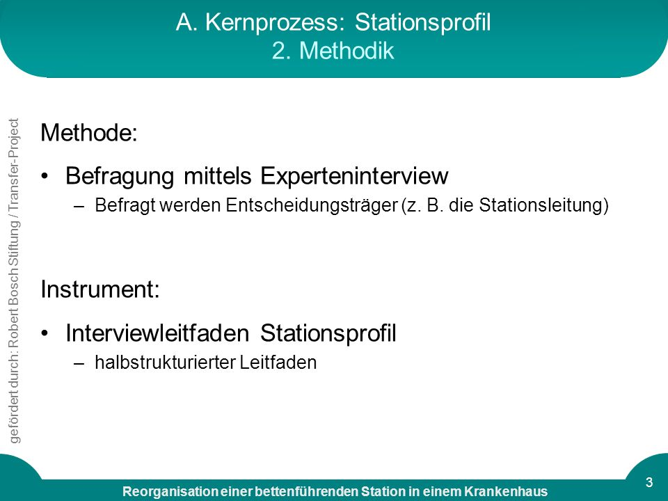 Reorganisation einer bettenführenden Station in einem Krankenhaus gefördert durch: Robert Bosch Stiftung / Transfer-Project 3 A. Kernprozess: Stations