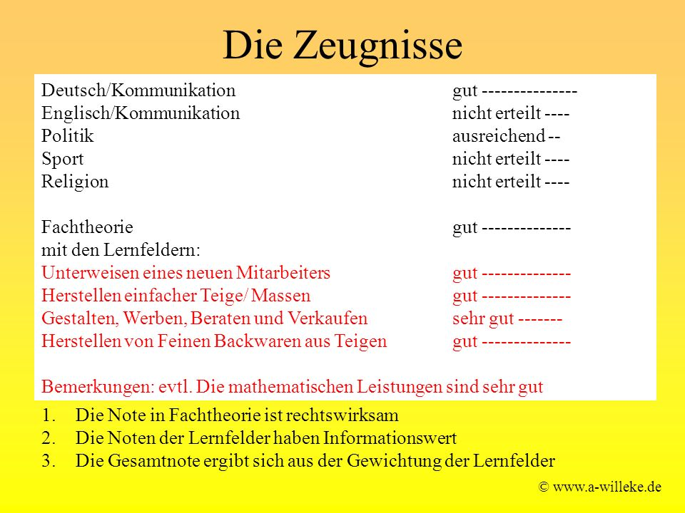 Die Zeugnisse © www.a-willeke.de Deutsch/Kommunikation gut --------------- Englisch/Kommunikation nicht erteilt ---- Politik ausreichend -- Sport nicht erteilt ---- Religion nicht erteilt ---- Fachtheorie gut -------------- mit den Lernfeldern: Unterweisen eines neuen Mitarbeitersgut -------------- Herstellen einfacher Teige/ Massen gut -------------- Gestalten, Werben, Beraten und Verkaufen sehr gut ------- Herstellen von Feinen Backwaren aus Teigen gut -------------- Bemerkungen: evtl.