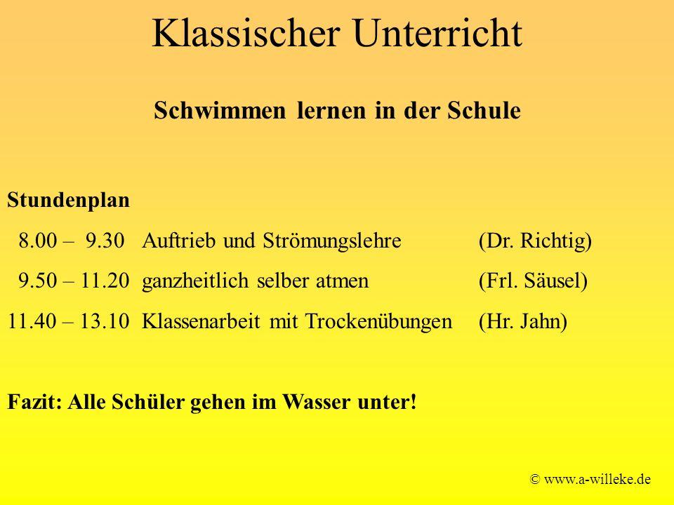 Klassischer Unterricht © www.a-willeke.de Schwimmen lernen in der Schule Stundenplan 8.00 – 9.30 Auftrieb und Strömungslehre (Dr.