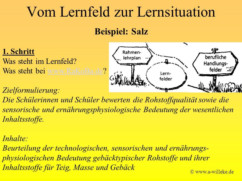 Vom Lernfeld zur Lernsituation © www.a-willeke.de Beispiel: Salz 1. Schritt Was steht im Lernfeld? Was steht bei www.RaKoBa.de?www.RaKoBa.de Zielformu