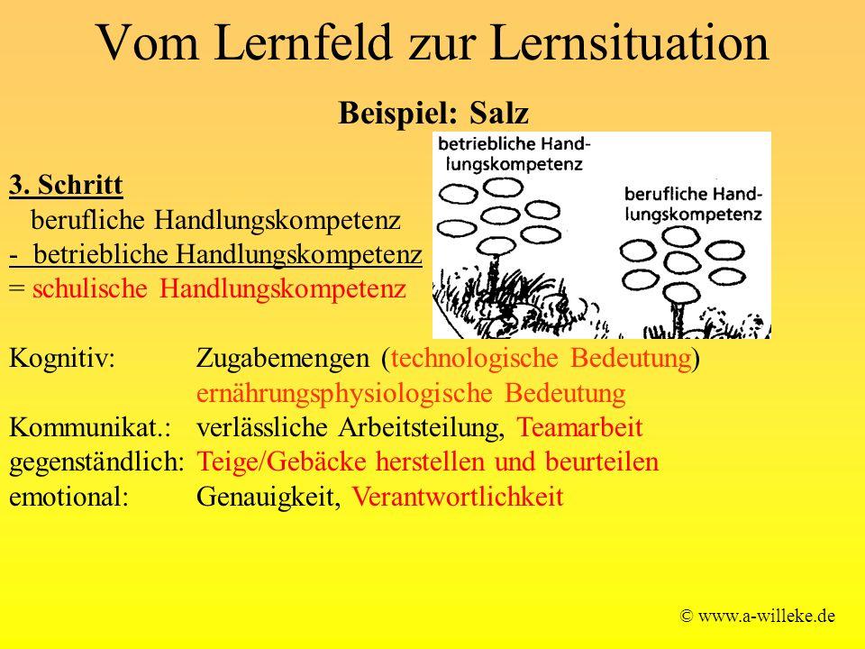 Vom Lernfeld zur Lernsituation © www.a-willeke.de Beispiel: Salz 3. Schritt berufliche Handlungskompetenz - betriebliche Handlungskompetenz = schulisc