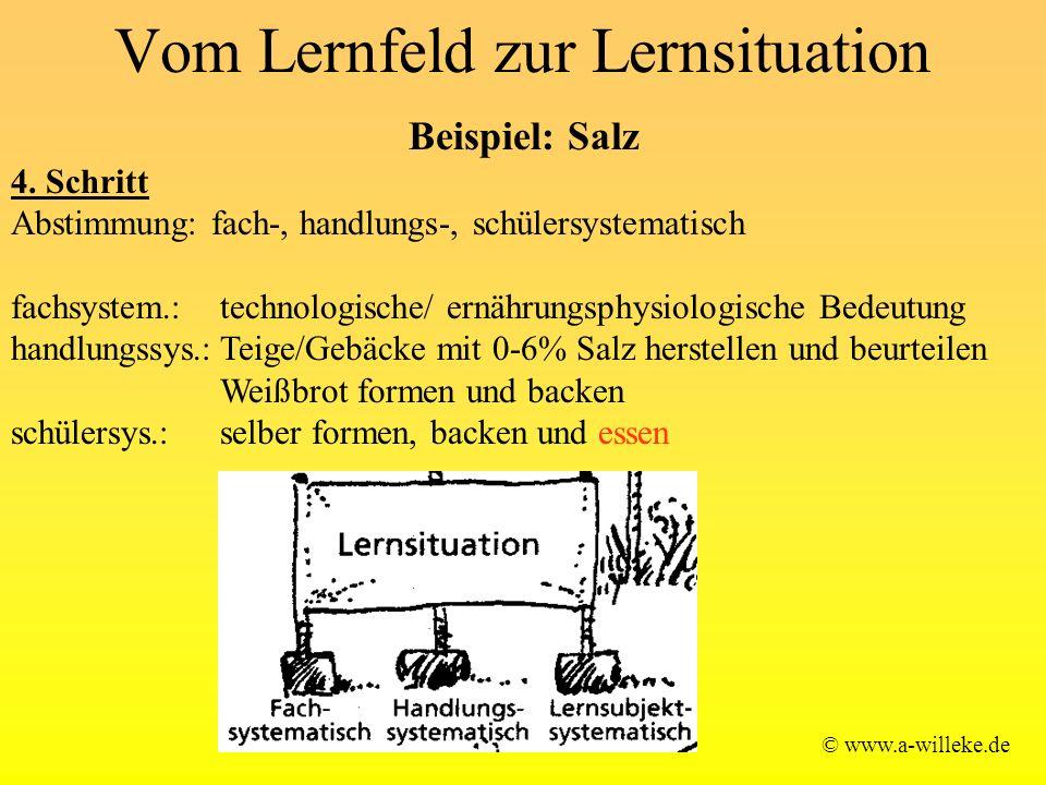 Vom Lernfeld zur Lernsituation © www.a-willeke.de Beispiel: Salz 4.